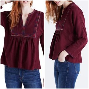 Madewell Burgundy Embroidered Boho Popover Top M